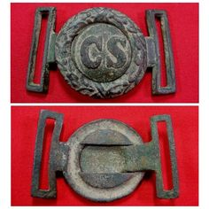 A beautiful condition, excavated, Richmond Arsenal style, CS 2-Piece, saber belt plate. This excellent plate was recovered about 40 years ago from a Confederate cavalry camp site located private property near Richmond, Virginia. The two parts were recovered together, fit perfectly, and have a nice matching brown-green patina.