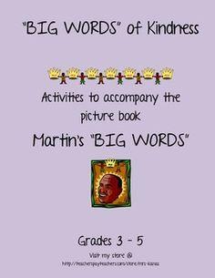 "Big Words of Kindness - Activities for ""Martin's Big Words"" - MLK"