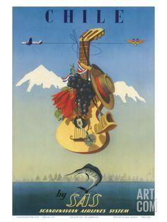 Scandinavian Airlines Chile, Gaucho Guitar, c.1951 Art Print by De Ambrogio at Art.com