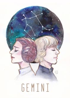 Constellations - Luke Skywalker and Leia Organa - Gemini Art Print
