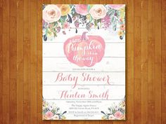Pumpkin Baby Shower Invitation Pink Invite Rustic Girl Autumn