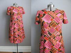 1960s Vintage Dress Pink Psychedelic Mod 60s by SoubretteVintage, $44.00