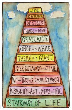 """The Stairway of Life watercolor © Pat Pitingolo (Artist, USA) via flickr.  """"Life is a series of steps. Things get done gradually. Once in a while there is a giant step, but most of the time we are taking small seemingly insignifcant stepson the stairway of life."""" -Ralph Ransom (Artist, USA. 1874-1908)  fixquotes.com/...  ... Persevere!"""