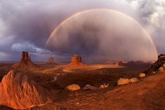 ~ Rainbow Over Monument Valley ~ Utah....Photograph by Anna Day....