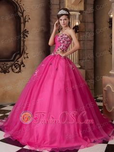 Impression Hot Pink Quinceanera Dress Sweetheart Organza Beading A-line  http://www.fashionos.com