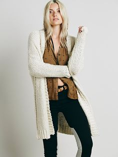 Lounge All Day Cardi   The perfect wardrobe staple, this soft chunky knit cardi sweater features a boyfriend fit and dolman sleeves.
