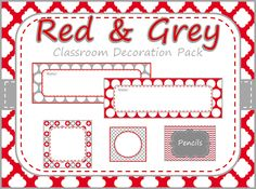 Red & Grey Classroom Decoration Pack- $55 www.etsy.com/shop/lollylanddesigns