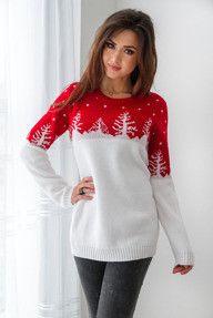 Czerwono- biały sweter damski w świąteczny wzór