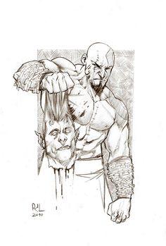 Kratos - God of War - Rafael de Latorre Kratos God Of War, Kratos Mortal Kombat, Comic Book Drawing, Video Game Art, Comic Artist, Comic Books, Sketches, Hero, Deviantart
