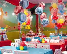 party at Giggles & Hugs for a brother and sister. B's Flowers brought some linen, made a cupcake stand added some balloons.a place that is already really cute. Carnival Themed Party, Carnival Birthday Parties, Circus Party, Birthday Party Themes, Circus Wedding, Birthday Ideas, Baby Boy 1st Birthday Party, Circus Birthday, First Birthday Parties