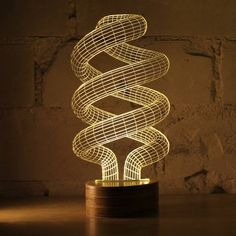 Visualize forms from your LED lamp. Coming as a spectacular design by Nir Chehanowski, the Spiral Bulbing Optical Illusion LED Lamp can surely become the center of attention of your living space. 3d Light, Lamp Light, Green Design, Lampe 3d, Buy Lamps, 3d Optical Illusions, Plexiglass, Lumiere Led, 3d Laser