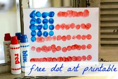 Simple Flag Dot Art project.  Use it to talk about colors & practice counting.  Expansion ideas: Create your own personal flag.  Create a new pattern.  Write a story about what your flag means.