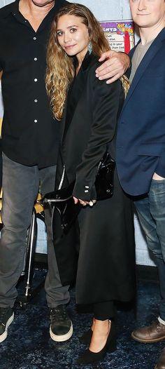 Ashley Olsen in all black with Céline pumps.