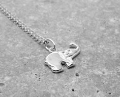 Sterling Silver Elephant Necklace by GirlBurkeStudios on Etsy, $25.00