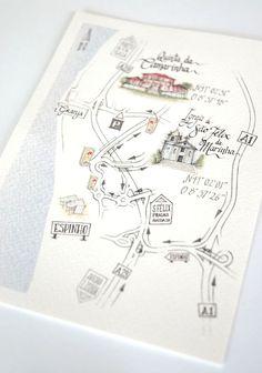 Se é criativo e tem jeito para as artes, desenhe o mapa do seu próprio casamento! A partir do exemplar original, faça cópias para adicionar como anexo ao convite! Love it!   www.caramelo.com.pt