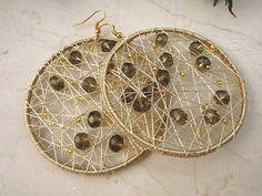 Beige Crochet Earrings/Geometric Hoop Earrings/ Dangle by Nimmet
