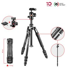 Monforte Be free 2N1 twist aluminium travel tripod and ball head kit is the ideal solution for advanced hobbyist photographers who want versatility and maximum performance combined in one simple solution, ideal for travelling. Its ergonomic design makes operating the Monforte Be free 2N1 intuitive and fast, enabling even the most demanding photographers to set their equipment up quickly and easily so their focus stays on catching the desired shot.