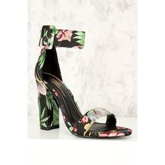 Black Floral Wide Ankle Strap Open Toe Single Sole Chunky High Heels (255 GTQ) ❤ liked on Polyvore featuring shoes, pumps, black stiletto pumps, black stilettos, black prom shoes, black high heel shoes and black pumps
