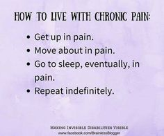 How to live with chronic pain...