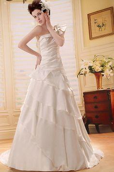 Appliques Satin Des Robes De Mariée A-Ligne rs0476 - Tissu: Satin, Décolleté: Une Épaule; Silhouette: Une Ligne-; Fermeture: Fermeture À Glissière - Price: 182.9900 - Link: http://www.robesoirees.com/appliques-satin-des-robes-de-mariee-a-ligne-rs0476.html