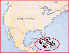 hier ligt Cuba, daar wou Rusland atoombommen (ook wel kernwapens genoemd) maar dat ging later niet door i.v.m. maatregelen die Amerika nam