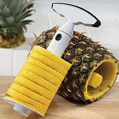 Core and slice fresh pineapples quickly and easily with this serrated corkscrew-like tool. Just snap on handle, insert into pineapple, and twist. The results of your simple effort: one perfect spiral of sweet pineapple, complete with healthy juices!