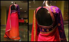 Mirror-worked-raw-silk-blouse-with-shaded-chiffon-sari..jpg 740×454 pixels