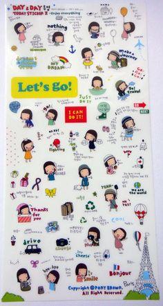 Cute Day & Day Plastic Stickers From Korea  Girl by worldofkawaii