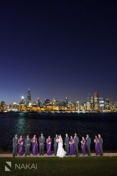 Chicago Indian Wedding Photos. Creative Chicago skyline with bridesmaids in their purple saris. South East Asian Wedding Pictures by Chicago Indian Wedding Photographer - Nakai Photography http://www.nakaiphotography.com