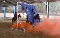 SMOKE AND rustling plastic provide distractions for horses involved in a De-Spooking Clinic and Equine Confidence Course like the one schedu...