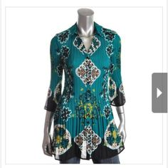 Alfani Tunic Amazing beautiful Manufacturer: Alfani Size Origin: US Manufacturer Color: Multi Scroll PL Green Retail: $69.00 Condition: New with tags Style Type: Tunic Top Collection: Alfani Sleeve Length: Three-Quarter Sleeves Material: 100% Polyester Alfani Tops Tunics
