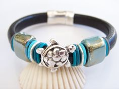 Black Regaliz Leather and Turquoise Turtle by Joannsfortheluvofit, $38.00