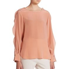 See by Chloe Silk Crepe De Chine Embroidered Blouse (11,460 PHP) ❤ liked on Polyvore featuring tops, blouses, apparel & accessories, rose apricot, ruffle sleeve blouse, embroidered blouse, red top, red blouse and silk ruffle blouse