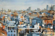 Nadia Tognazzo - 'Milan' watercolor,   40x60 cm