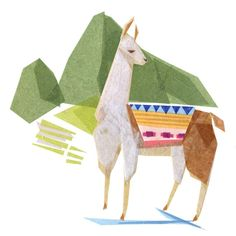 Linda Llama + Machu Picchu by Darrah Gooden - A study of Linda Llama + Machu Picchu. The original piece was created out of cut tissue paper assembled onto canvas. Machu Picchu, South America Animals, Monkey Decorations, Monkey Art, Insect Art, Children's Book Illustration, Animal Drawings, New Art, Art Prints