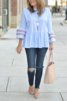 fall style - striped bell sleeve top with distressed skinny jeans, nude patent flats, tory burch tote | www.fizzandfrosting.com