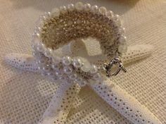Handmade crochet pearl cuff. Karan King Designs
