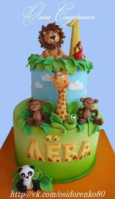1st Birthday Foods, Jungle Birthday Cakes, Jungle Theme Cakes, Baby First Birthday Cake, Animal Birthday Cakes, Safari Cakes, First Birthday Party Themes, Safari Birthday Party, Animal Cakes
