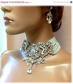 Excited to share this item from my shop: Bridal jewelry, Bridal choker statement necklace earrings, vintage inspired Victorian pearl crystal necklace, Gothic wedding jewelry set Ballroom Jewelry, Bracelets Roses, Handmade Bridal Jewellery, Vintage Inspiriert, Crystal Choker, Wedding Jewelry Sets, Bridal Wedding Jewellery, Wedding Veils, Bridal Headpieces
