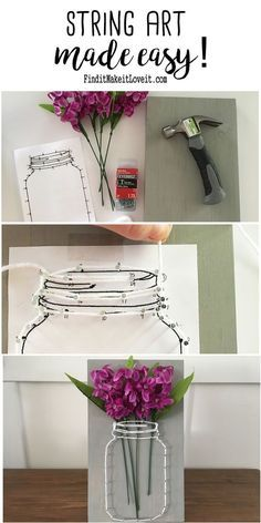Mason Jar string art with a printable template to make it EASY!
