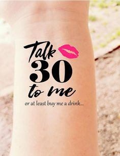30th Birthday Party Temporary Tattoos Talk Thirty to Me Dirty