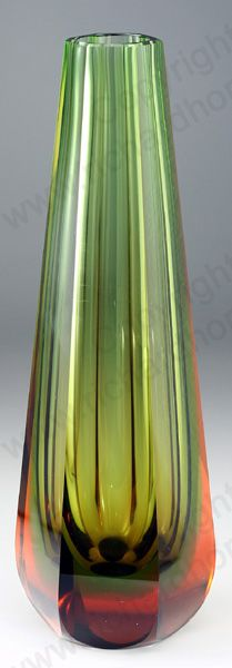VINTAGE GLASS IN GREEN. c.1950s WMF ERICH JACHMANN ART VASE IN GRADUATED GREEN TO AMBER. To visit my website click here: http://www.richardhoppe.co.uk or for help or information email us here: info@richardhoppe.co.uk