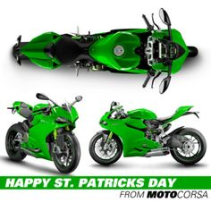 Happy St. Patricks day from MotoCorsa!     A shamrock green motorcycle? The Ducati 1199 Panigale.
