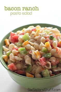 Bacon Ranch Pasta Salad on SixSistersStuff.com