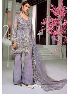 Mauve Butterfly Net Party Wear Designer Suit