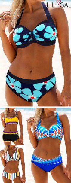 boho print summer swimsuits, floral print bikinis, stripe print bikinis, yellow bikini top and shorts, sexy bikinis, cute high waist bikinis, free shipping worldwide and easy returns. #liligal #swimwear #swimsuit