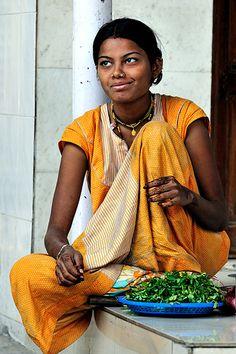 Smiling beautiful Indian girl in Mumbai.