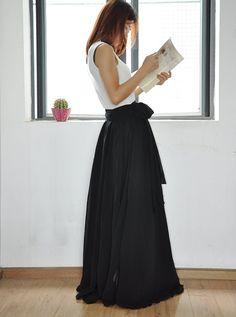 Black Maxi Skirt Chiffon Silk Skirts Beautiful by Dressbeautiful