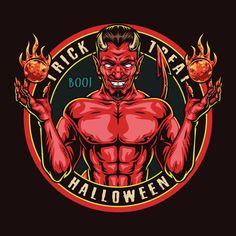 Colorful Devil vector t-shirt design. Download 44 Halloween vector t-shirt designs. 100% vector with editable text.