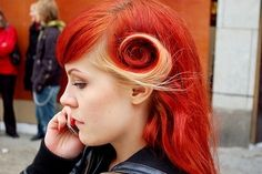 blonde strand, bobby pin, long hair, pin-up, red hair